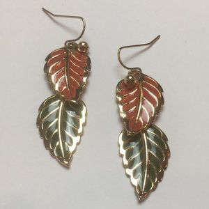 Gold Orange & Green Fall Leaf Earrings